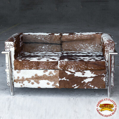 Chrome Steel And Genuine Cowhide Hair On Leather Sofa Furniture