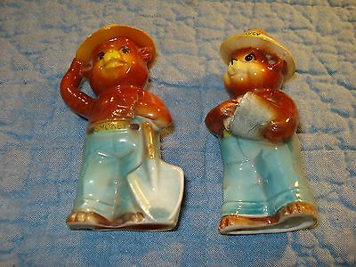 Vintage Smokey The Bear Figural Salt And Pepper Shakers