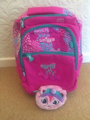 Smiggle Neon Backpack Rucksack Bag Pink New Also Fluffy Reversible Purse