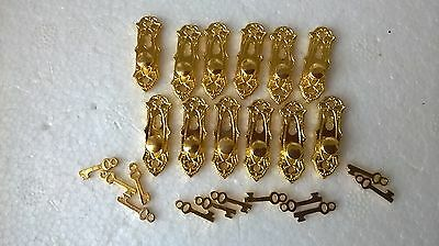 Door Handles s/12 ornate handles with keys, DOLLS HOUSE MINIATURES (F5752)
