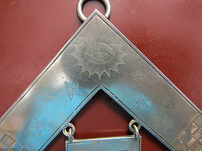 VERY RARE Antique Beautifully ENGRAVED 1919 STERLING SIlver PAST MASTERS Jewel