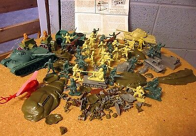 ANZIO BEACH model pieces Aurora toy soldiers 1968 mixed lot Marx w/ tanks cowboy