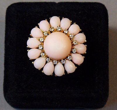 """HUGE PINK CORAL """"DIAMOND"""" 18K GOLD over STERLING DAISY FLOWER RING SIZE 11 - NOS"""