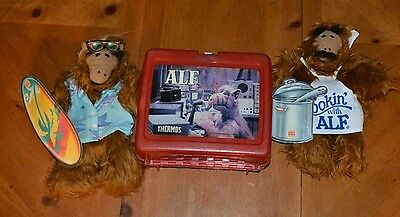 Burger King Pair Of Alf Puppets Surfing & Cooking + Free Lunchbox Carry Tote