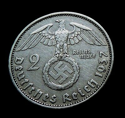Germany, Third Reich 2 Mark (Reichsmark) 1937 A WW2 Swastika silver coin