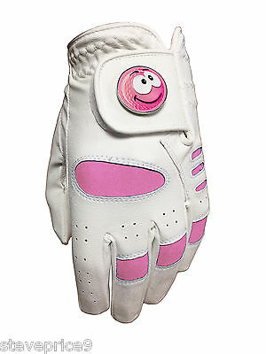 Ladies Golf Glove. White / Pink. Size Small. Smiley Smile Marker. Left Hander