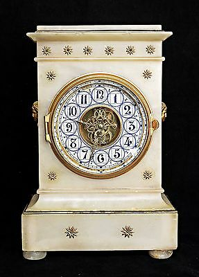 Antique Farcot Alabaster /marble Bell-Striking Clock Visible Escapement Serviced