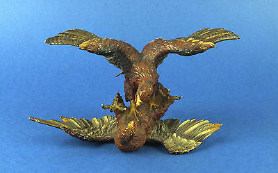 Antique Cold Painted Austria Vienna Bronze Sculpture Fighting Eagles