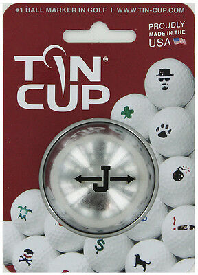 Tin Cup. Golf Ball Marker System. Alpha Players Letter J