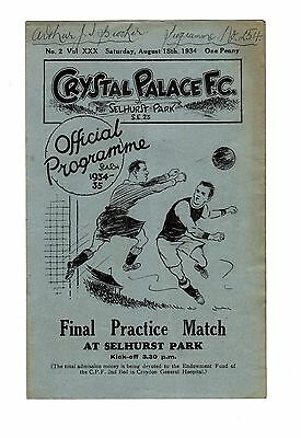 Crystal Palace Practice Match Reds v Blues 18.8.1934 Friendly