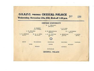 Oxford University v Crystal Palace 17.11.1948 Friendly