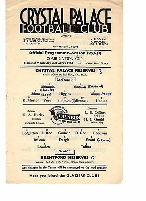 Crystal Palace v Brentford Reserves Programme 26.8.1953 Combination Cup