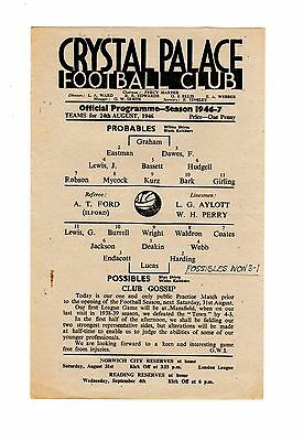 Crystal Palace Practice Match Probables v Possibles 24.8.1946 Friendly
