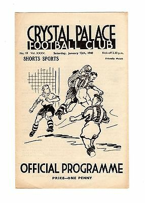 Crystal Palace v Shorts Sports (Rochester) 13.1.1940 Friendly