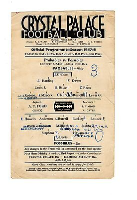 Crystal Palace Practice Match Probables v Possibles 16.8.47 Benefit Nick Collins