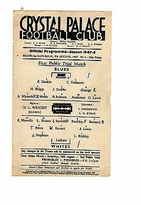 Crystal Palace Practice Match Blues v Whites 9.8.1947 Friendly