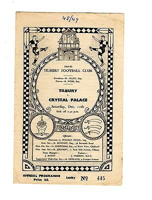 Tilbury v Crystal Palace 11.12.1948 Friendly