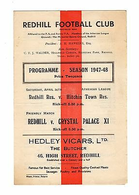 Redhill v Crystal Palace 24.4.1948 Friendly