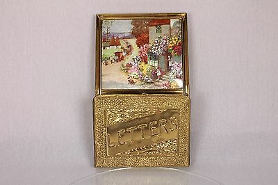 Shabby Chic Vintage Wooden Brass Wall Mounted Letter Rack Holder