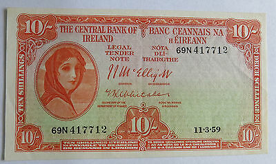 1959 Ireland 10 Shilling Lady Lavery Banknote, Only 2,500,000 Printed, Pick 56d