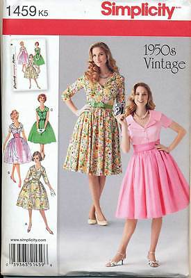 SIMPLICITY SEWING PATTERN 1459 MISSES 16-24 RETRO 1950s FLARED, ROCKABILLY DRESS