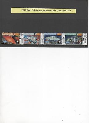 Papua New Guinea 2011 Reef Fish Conservation set of 4 CTO stamps