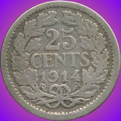 1914 Netherlands Silver 25 Cent Coin (3.575 Grams .640 Silver)