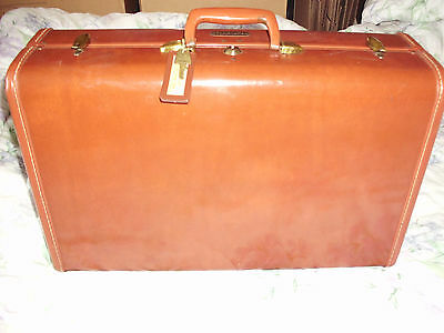 Vintage Samsonite Ladies O'nite Hard Shell Leather Luggage Suitcase W/key 21X13""