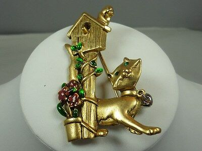 Vintage Signed Danecraft Cat and Bird House Pin / Brooch