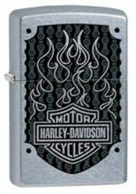 Harley Davidson Flames Street Chrome ZIPPO LIGHTER  w/Matching Case 29157