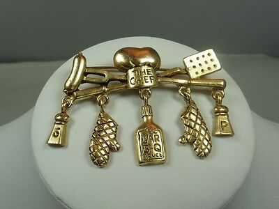 Vintage Signed Danecraft Gold Tone The Chef Pin / Brooch