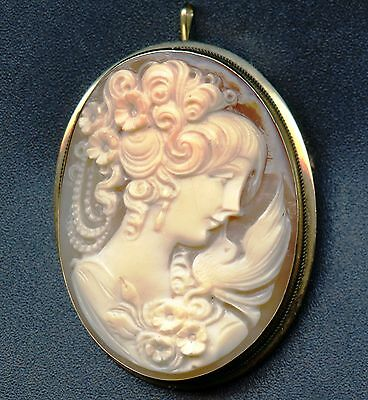 18K Gold Cameo Pin/Pendant Lady With Bird On Shoulder (10.9 Grams 48 mm x 38 mm)