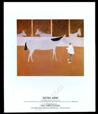 1987 Milton Avery racehorse horse painting Scottsdale gallery vintage print ad