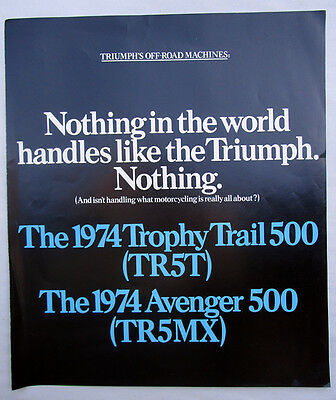 Triumph Trophy Trail Avenger Mx Off Road Motorcycle Brochure Catalog 1974 Tr5T