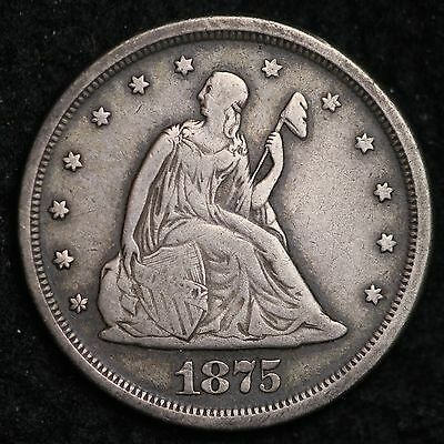 1875-S Seated Liberty Twenty Cent Piece CHOICE FINE VF FREE SHIPPING E223 CTX