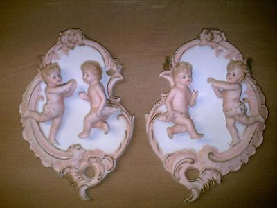 Lefton China Putti Wall Plaques KW7220-Pair-Hand Painted-Cherubs-Orginal Labels