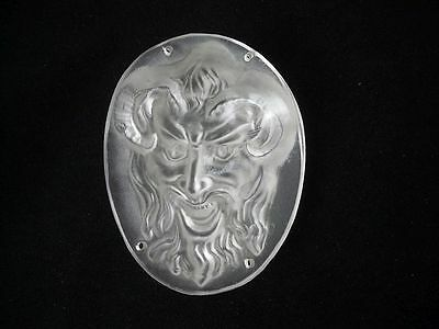Unusual Art Deco Glass Devil Pan Figure Plaque Mask