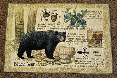 Black Bear Tapestry Placemat ~ Great Outdoors by Artist, James Wiens
