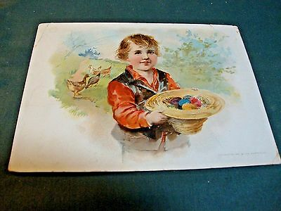 1893 Victorian Trade Easter Greetings Card For Woolson Spice Co Adv Lion Coffee