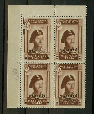 Polish Army in Italy: 5z on 2z airmail, MNH block, rare variety (Sass. PA1 var)