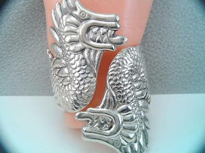 Rare Lg Old Mexican Taxco Sterling Dragon Serpent Clamper Bracelet A.valladares