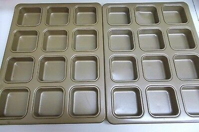 KW-320 2 TWO nonstick BAKING PANS 12 SQUARE Muffin cupcake cornbread Brownie