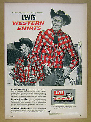 1958 Levi's Western Wear Shirts red check pattern shirt art vintage print Ad