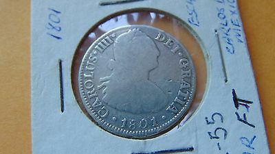Mexico 2 Reales, 1801 Carolus IV Silver Coin Spanish Colonial