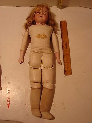 Vintage 21 Inch Doll Bisque Head A & M 370 German Armand Marseille Leather Body