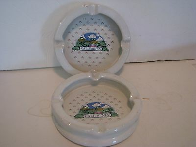 Vintage  California  Souvenir Ashtrays   lot of  2  5 inches