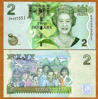FIJI, 2 dollars, 2007 (2011), P-109b (109), QEII, UNC > New title and sig.