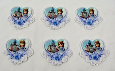 BB FLATBACKS planar SOFIA THE FIRST PRINCESS IN A  HEART pk of 6 flatback disney