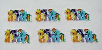 BB FLATBACKS planar MY LITTLE PONY trio pk of 6 flatback hair bows cakes