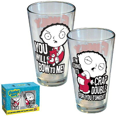 The Family Guy Stewie and Phrases Two Pack Illustrated Pint Set, NEW UNUSED